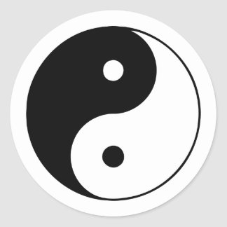 Classic Black and White Yin and Yang Classic Round Sticker