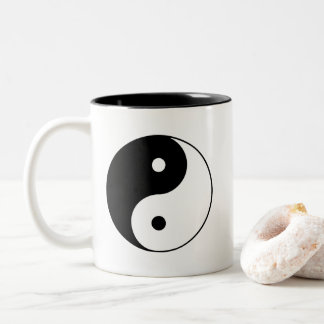 Classic Black and White Yin and Yang Two-Tone Coffee Mug
