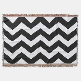 Classic Black and White Zigzag Throw Blanket