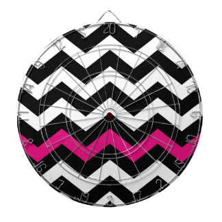 Classic Black and White Zigzag With Hot Pink Dartboard