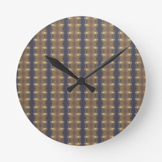 Classic Black Brown Gold Stripes and Squares Clock