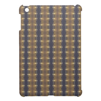 Classic Black Brown Gold Stripes and Squares iPad Mini Cover
