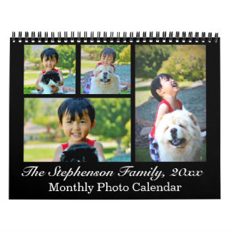 Classic Black Collage Custom Photo Monthly Wall Calendar