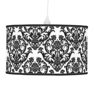 Classic Black Damask Pattern Pendant Lamp