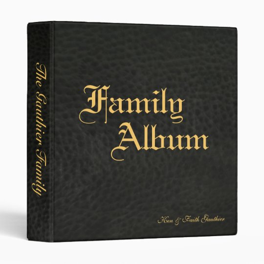 Classic Black Faux Leather & Gold Family Album Binder