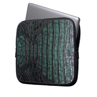 Classic Black & Green Alligator Skin #3 Laptop Sleeve
