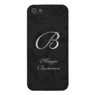 Classic Black in a Damask Print with Monogram iPhone 5 Case