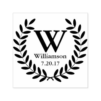 Classic Black Laurel Wreath Family Name Initial Self-inking Stamp