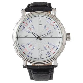 Classic Black Leather Unit Circle Wristwatch