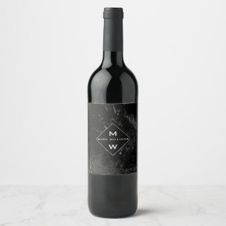 Classic Black Marble Monogrammed  Professional Wine Label