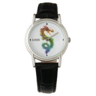 Classic Black Rainbow Dragon Leather Watch