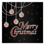 Classic Black, Red and White Merry Christmas Poster