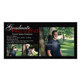 Classic Black Tri-Photo Graduation Card