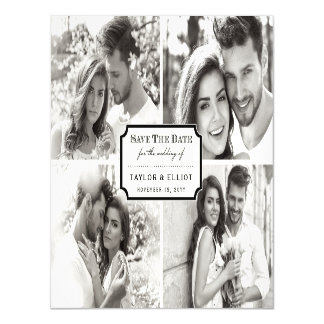Classic Black White Book Plate Photo Save The Date Magnetic Card