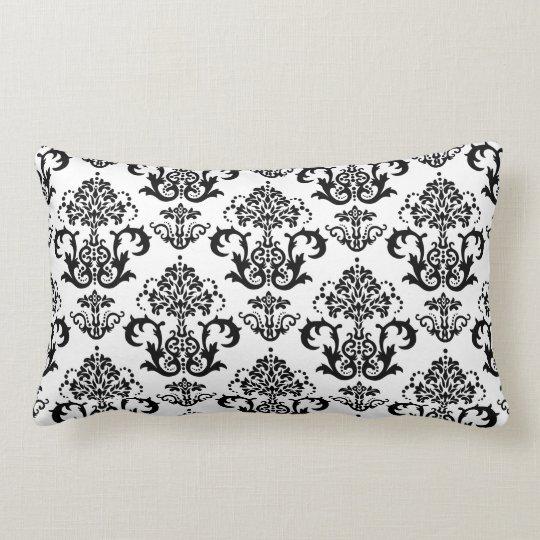 Classic Black & White Damask Wallpaper Print Lumbar Pillow