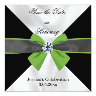 Classic Black & White Drapery with Green Bow Card