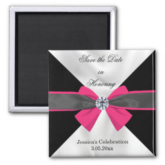Classic Black & White Drapery with Magenta Bow Magnet