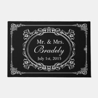 Classic Black White Mr Mrs Wedding Art Deco Frame Doormat