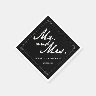 Classic Black & White Mr & Mrs Wedding Napkins Paper Napkins