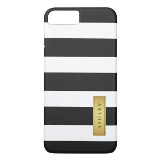 Classic Black White Stripe Pattern Gold Label Name iPhone 8 Plus/7 Plus Case