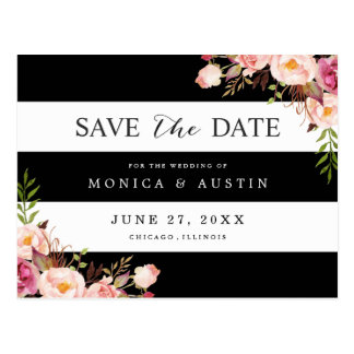 Classic Black White Stripes Floral Save the Date Postcard