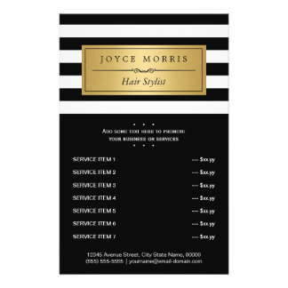 Classic Black White Stripes Gold Service Menu Flyer