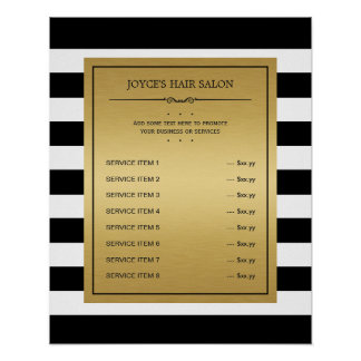 Classic Black White Stripes Gold Service Menu Poster