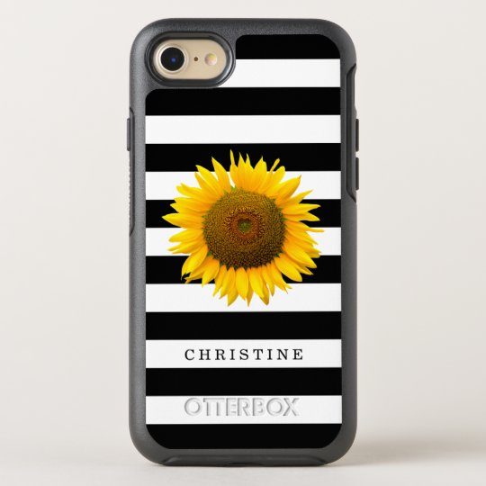 Classic Black White Stripes Rustic Sunflower Name OtterBox Symmetry iPhone 8/7 Case