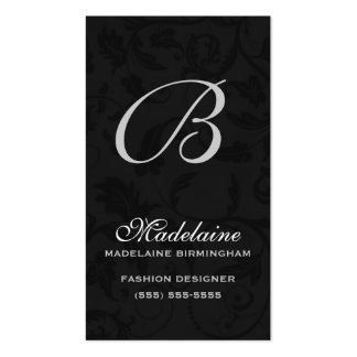 Classic Black with Silver Damask Monogrammed Pack Of Standard Business Cards