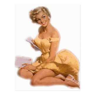 Classic Blonde Pin Up Girl Postcard