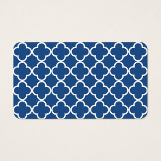Classic Blue and White Quatrefoil Moroccan Pattern Business Card