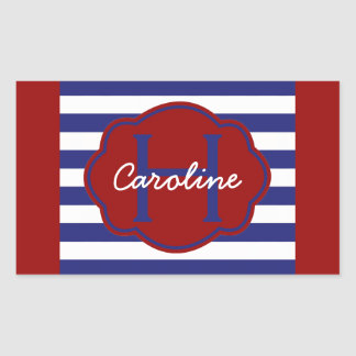 Classic Blue and White Stripe Personalized Sticker