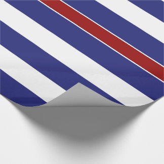 Classic Blue and White Stripe Red Accent Gift Wrap