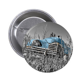 Classic Blue Car Black and White Field 2 Inch Round Button