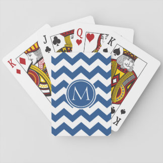 Classic Blue Chevron Monogrammed Playing Cards