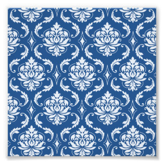 Classic Blue Damask Pattern Art Photo