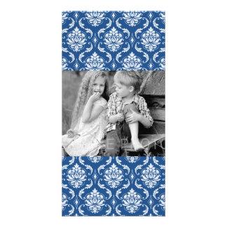 Classic Blue Damask Pattern Personalized Photo Card