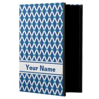 Classic Blue Diamonds-White Frames iPad Case