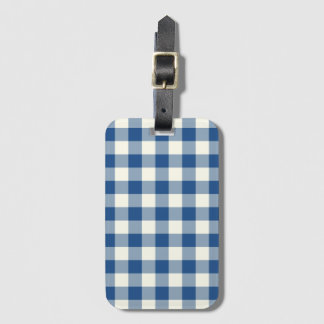 Classic Blue Gingham Baggage Labels Luggage Tag