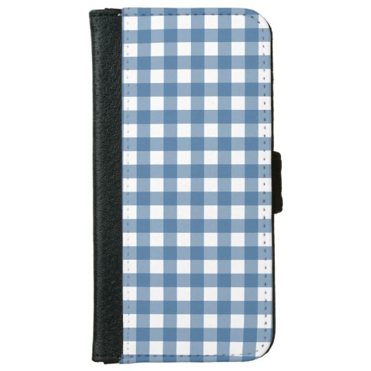 Classic Blue Gingham Pattern iPhone 6 Wallet Case