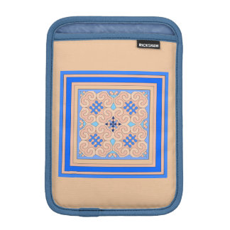 Classic Blue Peach Curly Pattern Mini iPad Sleeve