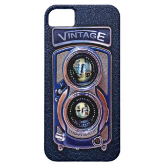 Classic Blue Silver Chrome Double lens camera case