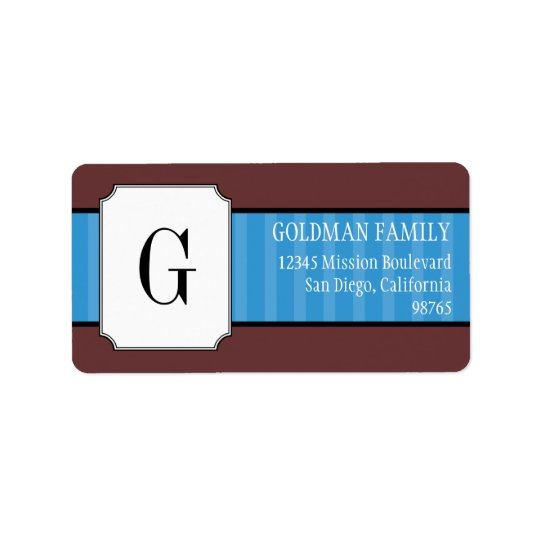 Classic blue stripes monogram return address label
