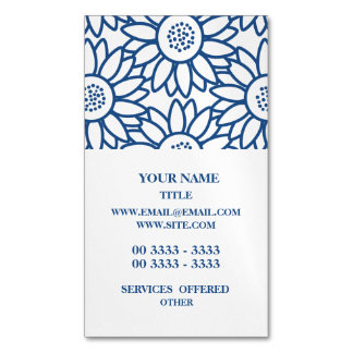 Classic Blue Sunflower Pattern Business Card Magnet