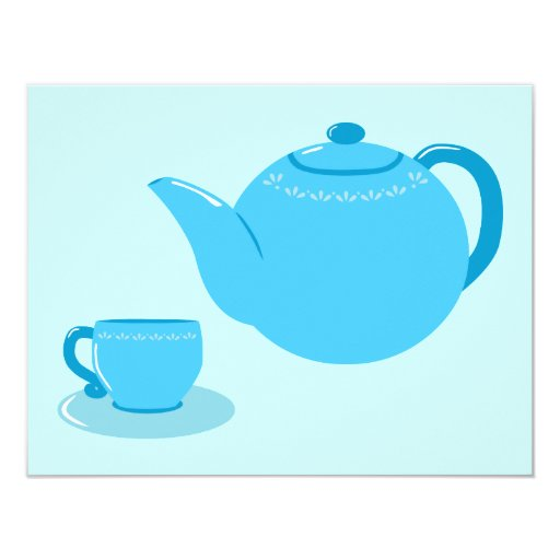 Classic Blue Teapot 4.25x5.5 Paper Invitation Card