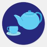 Classic Blue Teapot Classic Round Sticker