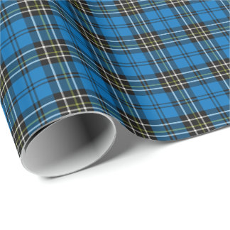 Classic Blue Vintage Plaid Wrapping Paper