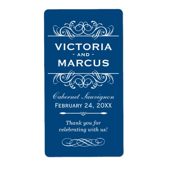 Classic Blue Wedding Wine Bottle Monogram Favour Shipping Label