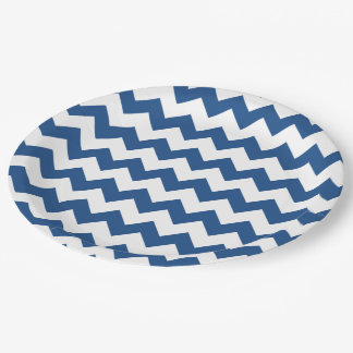 Classic Blue White Chevron Pattern Paper Plate