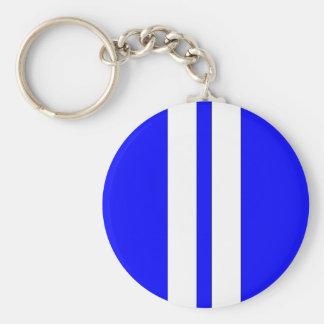 Classic Blue & White Retro Car Racing Stripes Basic Round Button Keychain